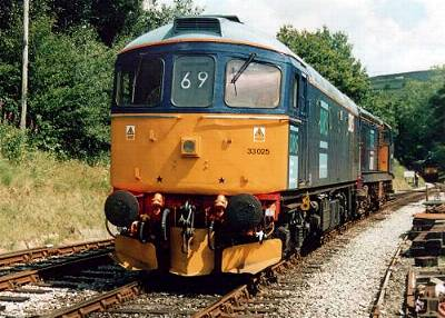 33 025 and 20 308 backing onto the 12.15 Oxenhope - Keighely at Oxenhope 3/8/02<br /> photo- D.Robinson