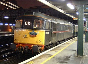 33202 at Victoria with 07.59 from Yeovil, The Sussex Sulzers railtour.22/11/03, photo D.Robinson