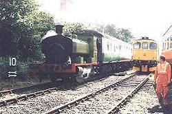 steam loco Spitfire leads a steam-hauled service from Shepherdswell, 14/7/01. photo B.Thomas